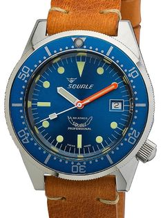 The Squale 11521-026-BLB is a 500 meter professional dive watch with a uni-directional bezel, stainless steel case, and a Swiss Made ETA 2824-2 automatic (self-winding) movement.