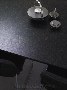 Angola Black Leather Granite Countertop...like the gray spots