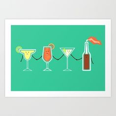 Room centerpiece? Cocktails! Art Print by Teo Zirinis | Society6