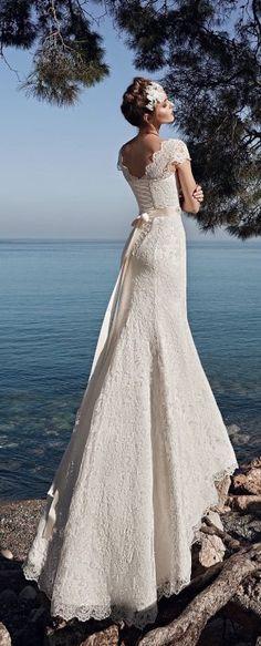 Elegant chiffon scoop neckline sheath wedding dress with beadings ...