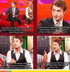 Daniel Radcliffe and Elijah Wood mix up! Note: Harry Potter is not Frodo and vice versa lol Daniel Radcliffe, Another A, Tumblr, Mischief Managed, The Hobbit, Just In Case, I Laughed, Nerdy, Laughter