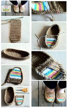 crochet tut o slippers Diy Crochet Slippers, Crochet Sandals, Crochet Diy, Crochet Boots, Crochet Baby Shoes, Crochet Shoes Pattern, Baby Shoes Pattern, Shoe Pattern, Crochet Patterns