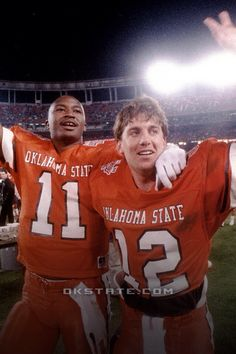 Hart Lee Dykes and Mike Gundy Oklahoma State Football, Semi Pro Football, Oklahoma State University, Football Fans, College Football, Go Pokes, Cowboy Love, Pistol Pete, College Game Days
