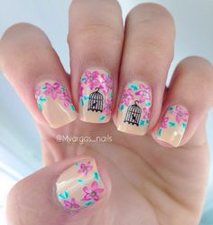 Vintage spring mani using Bird cages water decals from @bundlemonster ,