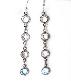 Crystal white & blue link drop earrings Online Boutiques, Handcrafted Jewelry, Jewelry Design, Charmed, Drop Earrings, Crystals, Elegant, Link, Sweet