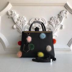 a033e02cfd04 Fendi Calfskin 2Jours Bag With Mink Fur Pompoms Black 2017 Fendi Fur