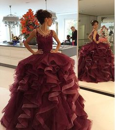 Burgundy Prom Dresses,Backless Prom Dress,Lace Prom Dress,Wine Red Prom Dresses,Formal Gown,Ball Gown Evening Gowns,Modest Party Dress,Prom Gown For Teens