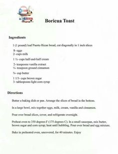 Boricua toast recipe
