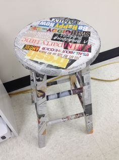 Mod podge stool - You Can Decorate High School Classrooms Too! Classroom Layout, Classroom Decor Themes, Classroom Organization, Classroom Ideas, Classroom Management, Organization Ideas, Used Chairs, Cool Chairs, High School Classroom