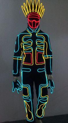 CS-0066 JAPANESE TRON DANCER Lights EL Wire Costume | LED dance costume; Luminous costume; Co2 jet; Smoke machine; Confetti canon; Laser gloves