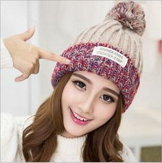 Cheap hat autumn, Buy Quality fashion knit hat directly from China knitted hat Suppliers: 2017 Fashion Korea Winter Cap Wool Hats Women Thickening Keep Warm Ball Knitting Hat Autumn Korea Winter, Fall Hats, Winter Hats For Women, Caps For Women, Knit Fashion, Girl With Hat, Knit Beanie, Beanie Hats, Knitted Hats