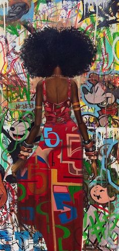"This one was entitled ""Graffiti"" by Frank Morrison and was from his ""Urban Mannerisms"" collection. Graffiti enveloped in graffiti Black Girl Art, Black Women Art, Art Girl, African American Art, African Art, Native American Indians, Natural Hair Art, Natural Hair Styles, Illustration Mode"
