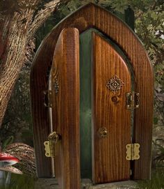 "Opening Double Fairy Door, 5¼"" x 7½"".  From Enchanted Gardens.  They have several to choose from.  $28.95 ea"