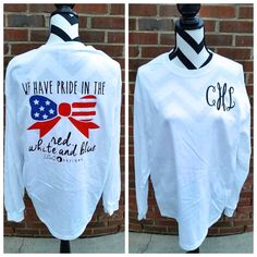 Monogrammed American Flag Bow Long Sleeved Shirt by ElleQDesigns