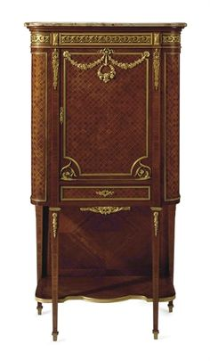 A FRENCH ORMOLU-MOUNTED SATINE AND PARQUETRY CABINET-ON-STAND LATE 19TH CENTURY