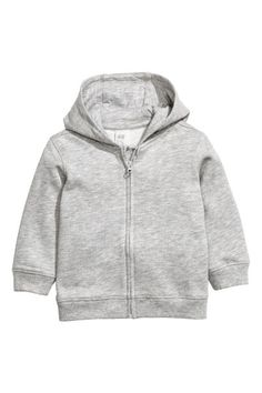 Check this out! CONSCIOUS. Jacket in sweatshirt fabric made from organic cotton with a jersey-lined hood, zip at the front, and ribbing at the cuffs and hem. Brushed inside. - Visit hm.com to see more.