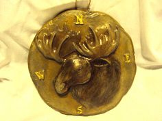 Moose Plaque 3D Handmade Hand Painted ooak by MountainArtCasting, $39.00
