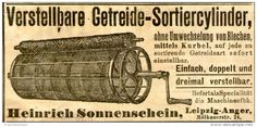 Original-Werbung/ Anzeige 1905 - GETREIDE - SORTIERCYLINDER / HEINRICH SONNENSCHEIN - LEIPZIG-ANGER - ca. 95 x 45 mm