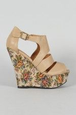 Qupid Finder-83 Embroidered Floral Print Wedge    LOVE in black