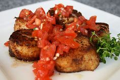 Porcini Dusted Sea Scallops with Tomato Relish.. oh my