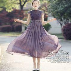 ドレス-ミニ・ミディアム 国内即発・送料無料*ハイウエスト*レース刺繍 シフォンドレス
