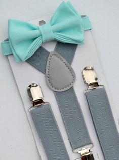 Aqua Bow Tie & Gray Suspenders Groomsmen Suspenders by armoniia Groomsmen Suspenders, Suspenders Outfit, Groomsmen Grey, Groomsmen Outfits, Bowtie And Suspenders, Groom Suits, Groom Attire, Toddler Easter Outfits, Baby Easter Outfit