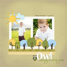 Great use of owl, petal and circle punches, and papers from Stampin' Up! Amber Meadows  Stampin' Up! scrapbook page layout