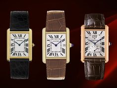 Cartier Tank Watch - A man has limited choices when it comes to accessories and a watch is something that one must have. If you buy one expensive thing it should be a Cartier Tank Watch. It never goes out of style and can become a family heirloom for generations to come.