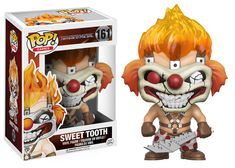 Pop! Games: Twisted Metal The most iconic face from the demolition derby gameTwisted Metal is coming to Pop! vinyl! A psychotic murderous monster that hides behind avicious clown mask, Sweet Tooth features his headof flaming hair and mischievous grin! Add Sweet Tooth to your collection thiswinter and get ready for mayhem!  Coming in January!