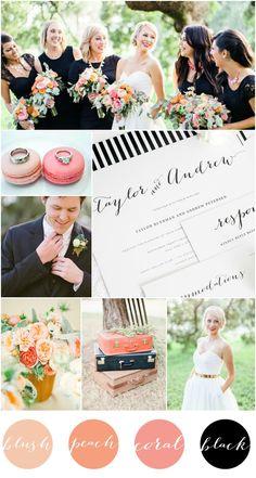 Blush + Peach + Coral + Black Wedding Inspiration | Shine Wedding Invitations