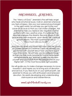 Archangel Jeremiel card.   Printed on 310gsm laminated, linen card stock. You get an Archangel cards included with our Archangel crystal bracelets, or they're available as a set of seventeen cards!