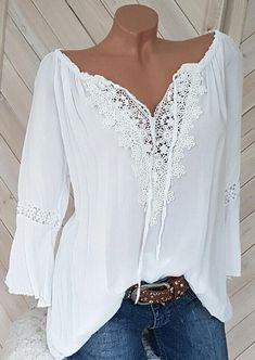 Solid Lace Splicing Tie Blouse - White Women Clothes For Cheap, Collections, Styles Perfectly Fit You, Never Miss It! White Fashion, Pop Fashion, Womens Fashion, Tie Blouse, Blouse Dress, Moda Outfits, Blouse Styles, Lace Sleeves, Latest Fashion Clothes