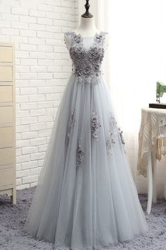 Custom Made Comely Lace Prom Dresses, Gray Round Neck Tulle Lace Applique Long Prom Dress, Gray Evening Dress Junior Prom Dresses, A Line Prom Dresses, Tulle Prom Dress, Cheap Prom Dresses, Tulle Lace, Prom Gowns, Formal Dresses, Beautiful Bridesmaid Dresses, Lace Bridesmaid Dresses