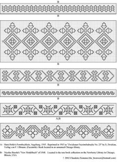 A-Hans Hofer B-Nicolas Basslie 1568 / Gallery. Blackwork Cross Stitch, Cross Stitch Borders, Cross Stitch Designs, Cross Stitching, Cross Stitch Patterns, Kasuti Embroidery, Cross Stitch Embroidery, Border Embroidery Designs, Embroidery Patterns