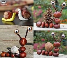 Autumn crafts: chestnuts - totnens - Fall Crafts For Kids Crafts For 3 Year Olds, Crafts For Seniors, Crafts For Teens, Diy For Kids, Acorn Crafts, Leaf Crafts, Pumpkin Crafts, Diy Home Crafts, Autumn Crafts