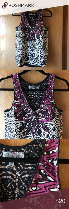 ▪️UO tribal print BW top w/ pink accent &beading▪️ Urban Outfitters tribal print top by ecoté. Beading on pink accent makes this shirt pop. Pair with black jeans and a leather jacket for happy hour 🍸 A few beads are missing but it's not noticeable when worn. Price reflects this. Urban Outfitters Tops Tank Tops