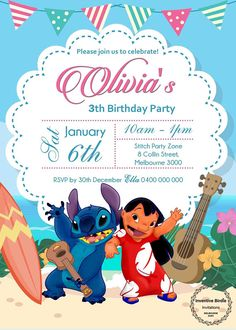 Free Stitch Invitations Stitch Birthdays and Lion party