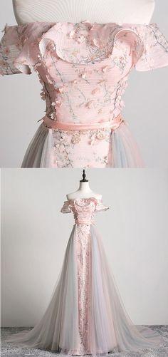 Pink Flower Lace Off Shoulder Long Tulle Senior Prom Dress - Abschlussball Kleider Senior Prom Dresses, Pink Prom Dresses, Flower Dresses, Pink Dress, Evening Dresses, Wedding Dresses, Sexy Dresses, Summer Dresses, Short Dresses