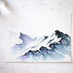 I absolutely love painting snowy mountains. I always thought that painting these… I absolutely love painting snowy mountains. I always thought that painting these would. Watercolor Pencil Art, Watercolor Art Landscape, Watercolor Projects, Easy Watercolor, Watercolour Tutorials, Watercolor Techniques, Simple Watercolor Paintings, Watercolor Illustration, Lemon Watercolor