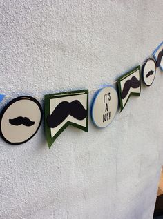 Mustache Baby Shower Banner Garland by Greylinendesign on Etsy Mustache Party, Mustache Birthday, Nikki Baby, Party Themes, Party Ideas, Party In A Box, Everything Baby, Holidays And Events, Baby Boy Shower