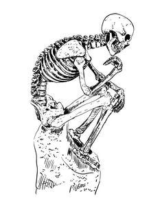 Illustration work using Wacom Bamboo Splash tablet #kerwoo #wacom #bamboosplash #illustrator #drawing #art #skeleton #thinker