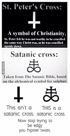 To the guy who posted the inverted cross is unholy and devilish read this Satanic Cross, The Satanic Bible, Satanic Art, Satanic Spells, Satanic Tattoos, Occult Symbols, Occult Art, Witch Symbols, Illuminati Symbols