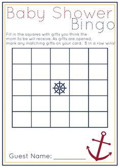 DIY Printable Blue and White Nautical Baby Shower Bingo and Price Is Right Games