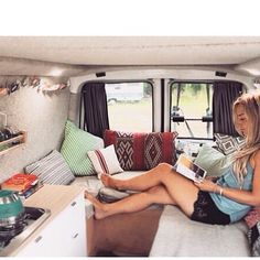 "van-crush: ""It's women crush Wednesday and I'll be sharing pictures and stories about the ladies living the #vanlife ~ love this inviting space @kaylscarey created in her van. This van really shows..."