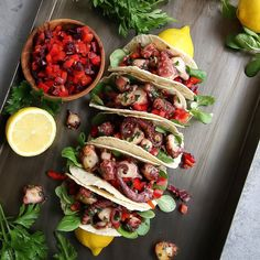 Octopus Tacos with Sweet Peppers & Kalamata Olives Salsa