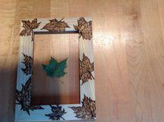 Maple leaf wood burning frame. Arlene Gathercole