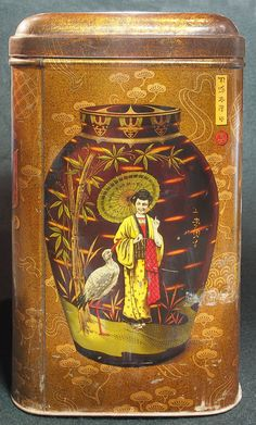 vintage tea tin decorated with ginger jar painted with figure of woman with parasol, with crane and bamboo