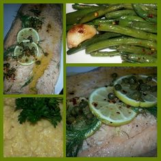 Whole Baked Salmon w/Spicy Lemon Butter & Dill, Stone Ground Savory Grits and Spicy Garlic Sauteed Green Beans