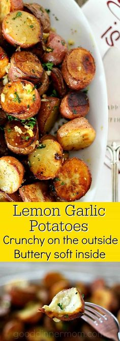 Lemon Garlic Potatoes are impressive but simple. Crispy on the outside, buttery soft inside, like your favorite steak fries, lemon and garlic add a Mediterranean flare. #companypotatoes #hashbrowns #sidedish #garlicpotatoes #homemadefries
