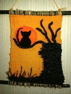 El arbol y el gato Weaving Art, Loom Weaving, Tapestry Weaving, Hand Weaving, Loom Knitting, Baby Knitting, Knitting Patterns, Wet Felting, Needle Felting